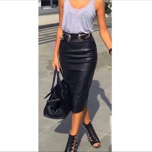 Vintage Black Leather High Waist Pencil Skirt 4
